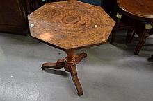 Antique French figured walnut octagonal shape