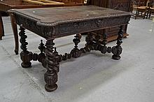 Antique Renaissance style carved walnut desk, with