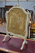 Antique French cream painted framed wool work