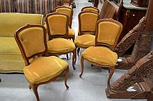 Set of six French Louis XV beech framed