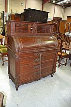 Antique French Louis XVI style cylinder desk, with
