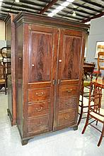 Antique English Georgian two door gun cabinet,