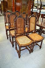 Set of six antique French carved oak high back