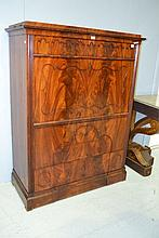 Antique European mahogany secretaire cabinet
