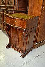 Good large size Victorian walnut davenport, fitted