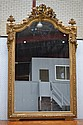 Antique French gilt surround mirror, the crest of