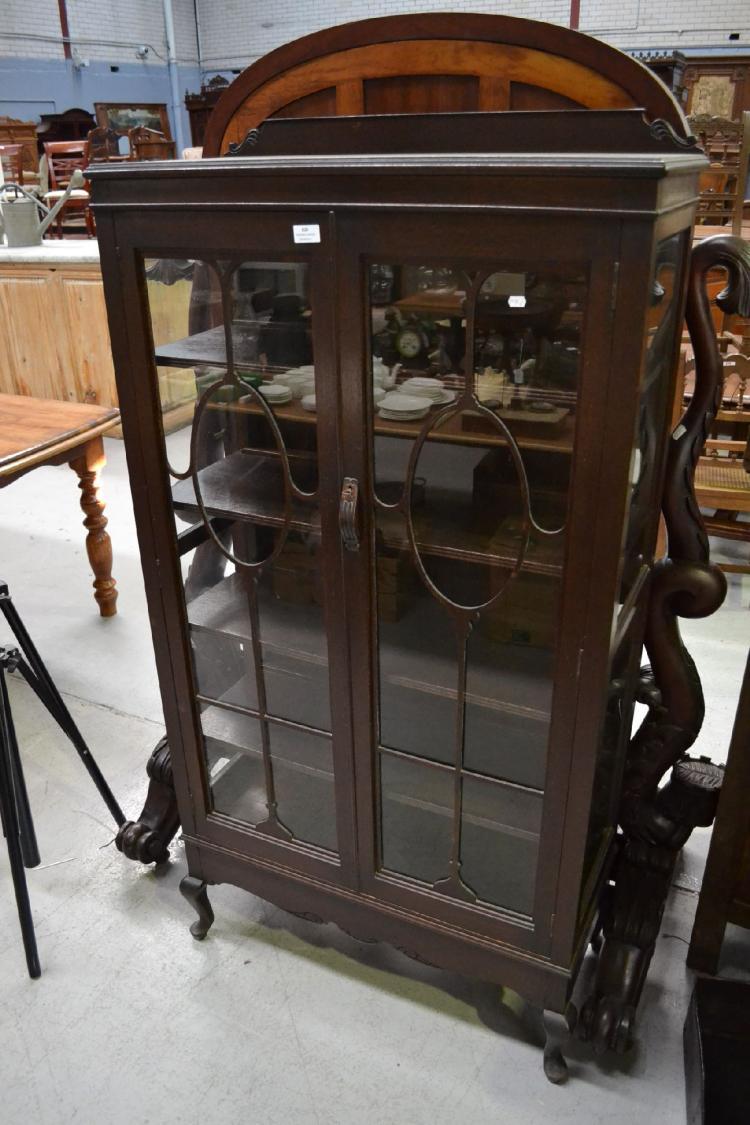 Vintage Two Door Silky Oak Display Cabinet