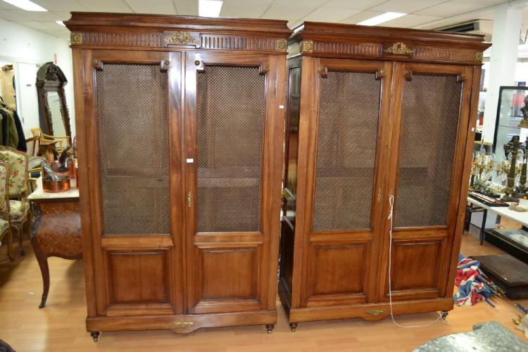 Fine pair of French walnut Empire revival two door bookcases, with gilt metal doors, and bronze mounts, approx 206cm H x 125cm W x 44cm D (2)