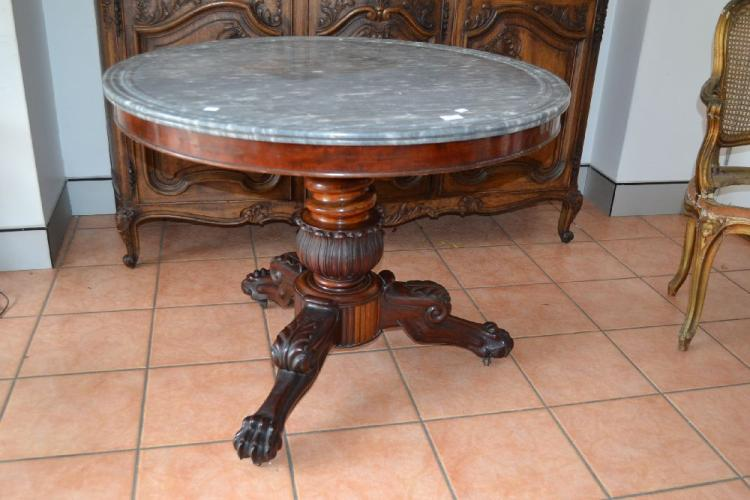 Antique French circular marble topped Empire centre table, approx 76cm H x 96cm