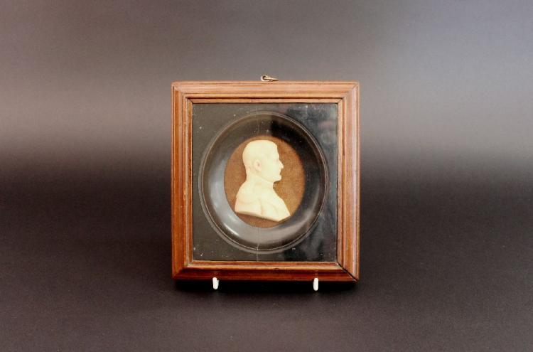 Antique Napoleon Bonaparte wax miniature bust in ebonized & oak frame, approx 14cm Sq