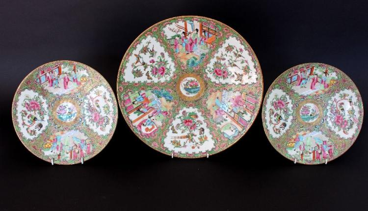 Three antique famille rose porcelain plates, approx 40cm Dia and smaller (3)