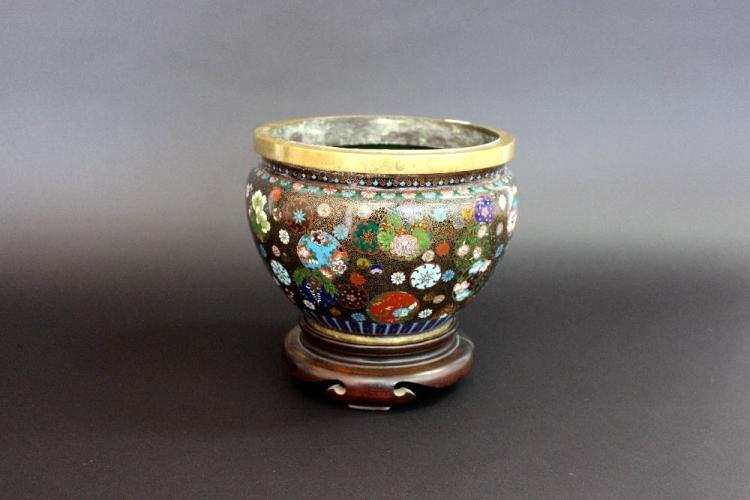 Fine antique Japanese cloisonne enamel bowl / pot on wooden stand, approx 20cm H x 22cm Dia