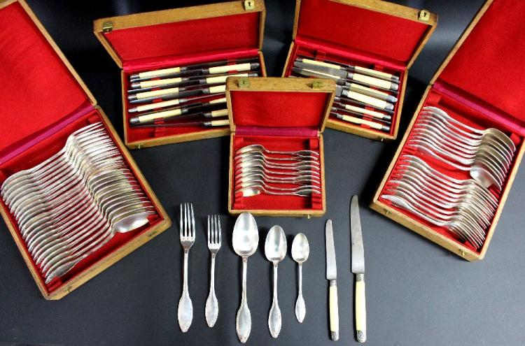 Various antique French boxed sets of flatware, mostly in sets of twelve