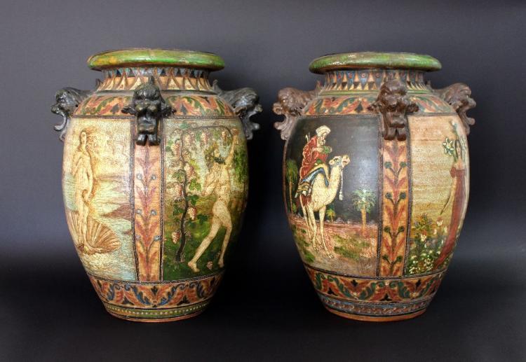 Large rare pair of Italian Sgraffito Montopoli Arno Terracotta vases, approx 52cm H (2)