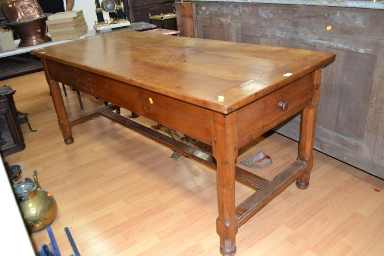 Antique 19th Century French cherrywood farm house table with chamfered legs and central stretcher, fitted with two drawers, approx 80cm H x 192cm W x 82cm D