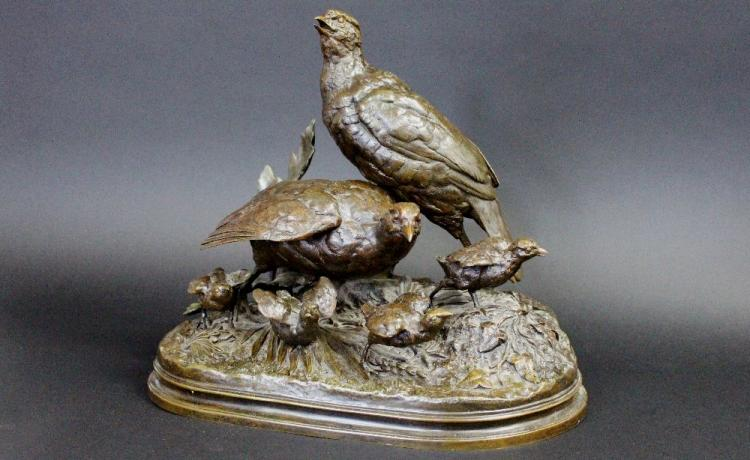 Alfred Dubucand (1828-1894) bronze figure group of ground birds and young, signed Dubucand, approx 37cm H x 40cm L