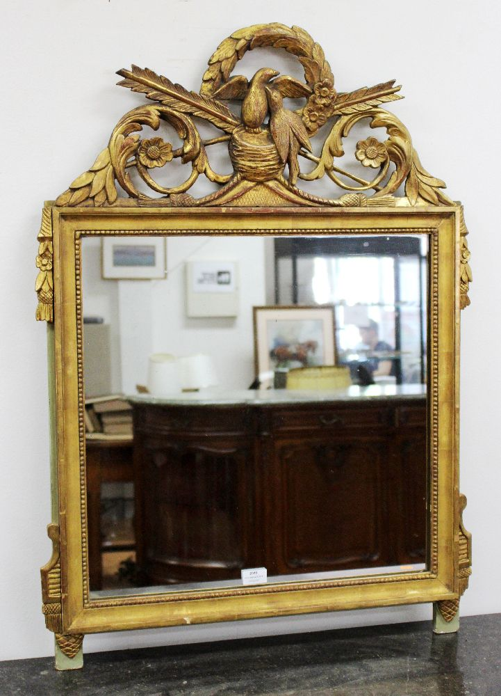 Antique French gilt gesso Louis XVI pier mirror, crossed arrows and birds to the crest, approx 90cm H x 70cm W