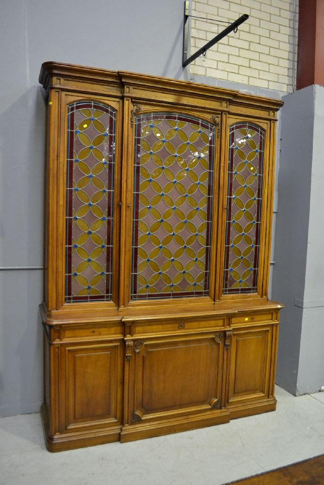 Large impressive antique french walnut three door bookcase for Large french doors