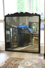Large Edwardian Oak framed bevelled edged mirror, approx 128cm H x 119cm W