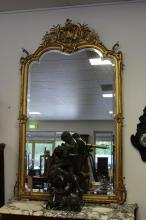 Antique French gilt gesso framed mirror, with pierced C scroll floral crest, (true gilt), approx 190cm H x 116cm W