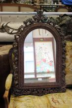 Well carved antique French mirror, approx 66cm H x 42cm W