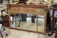 Regency triple plate over mantle mirror (near identical example The Royal Pavilion Brighton), approx 86cm H x 103cm W