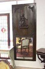 Antique French trumeau mirror, showing Athena & Owl, approx 207cm H x 90cm W