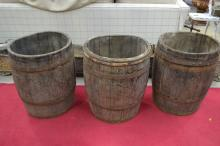 Three antique French wine makers wooden barrels with iron straps and loop handles, each approx 59cm H x 46cm W (3)