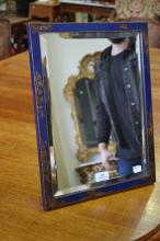 Vintage blue Chinoiserie easel backed mirror, approx 44cm x 34cm