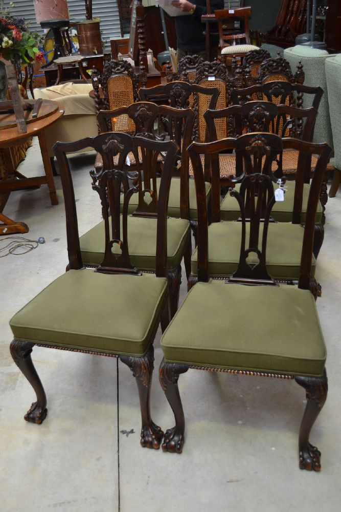 Set of six dining chairs green upholstery