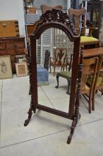Mahogany cheval mirror, approx 170cm H x 81cm W