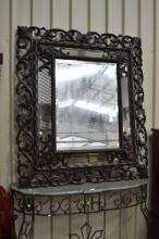 Large antique French Henri II mirror, pierced carved surround, approx 148cm x 127cm