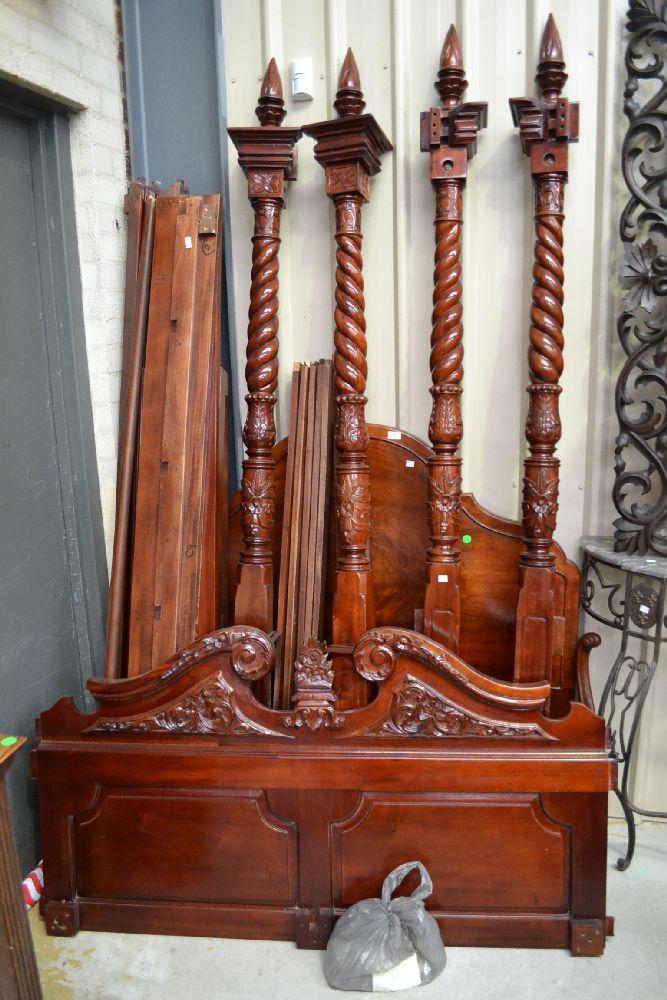 Modern Mahogany Four Post Bed