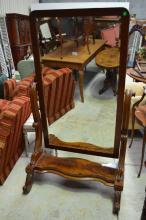Victorian cheval mirror, approx 167cm H x 98cm