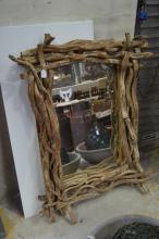 Decorative branch framed mirror, approx 117cm x 89cm