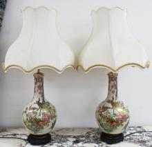 Pair of Satsuma Style vases lamps, each approx 63cm H (2)