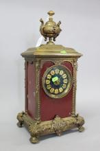 Antique French Renaissance style mantle clock, painted dial,  has key & pendulum (in office), approx 42cm H x 21cm W x 17cm D