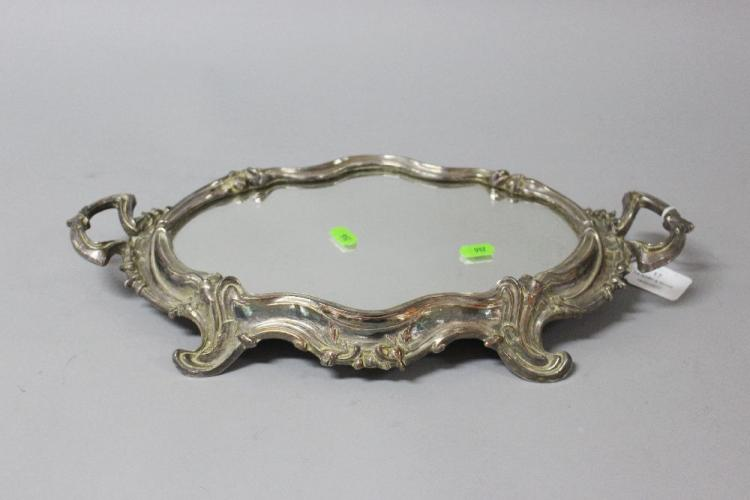 Antique French silvered metal twin handled mirrored plateau stand, approx 41cm x 20cm