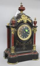Antique French marble and slate mantle clock, of architectural  form, fitted with bronze mounts, no key and  no pendulum, approx 50cm H x 30cm W x 19cm D