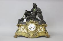 Antique French figural spelter mantle clock of Soldier, has key & pendulum (in office), approx 46cm H x 45cm W x 20cm D