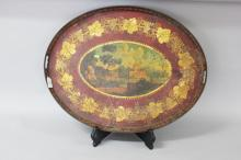 Antique French painted tole ware tray, approx 74cm x 58cm