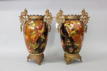 Pair of antique French vases, with bronze mounts, approx 47cm H