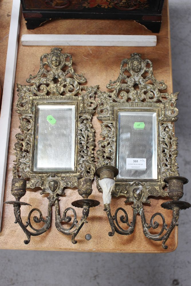 Pair of antique French renaissance revival bronze two stick mirrored appliques, each approx 42cm H x 17cm W (2)