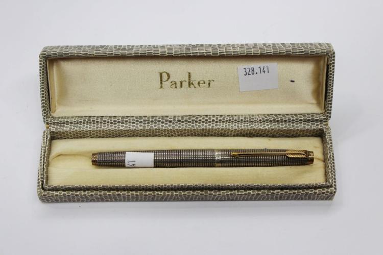 Vintage Parker pen - sterling silver grid pattern c.1960s