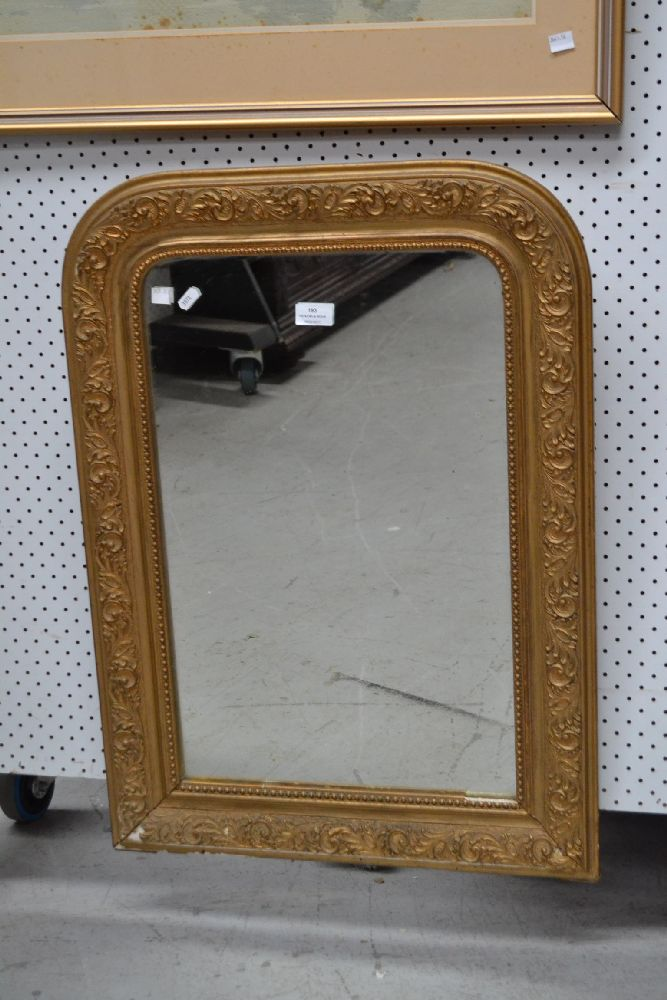 Antique French arched top mirror, approx 78cm x 55cm