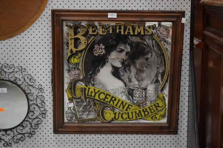 Advertising framed mirror Beethams cucumber Glycerine, approx 60cm sq