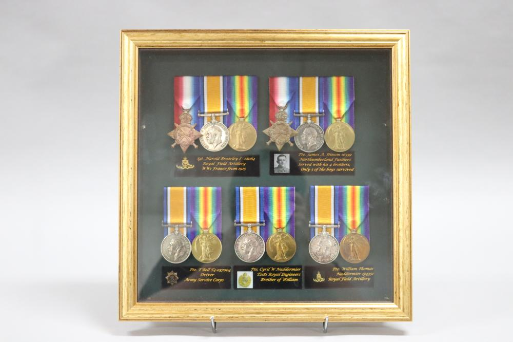 Five WW1 medal groups in one frame