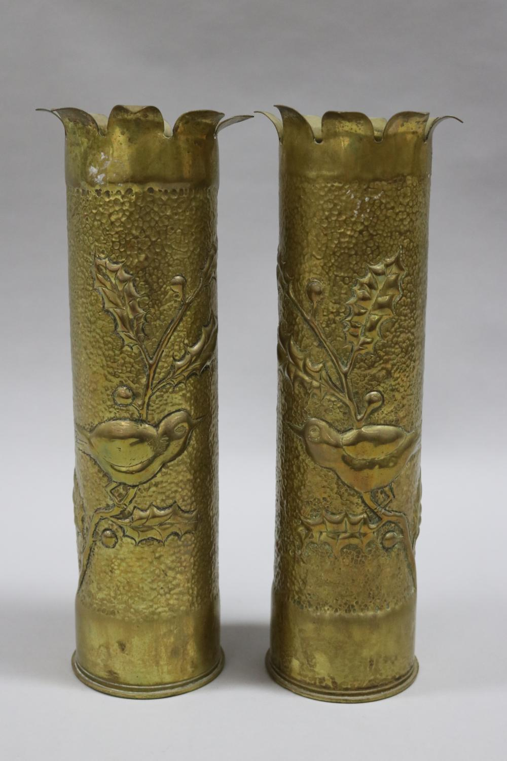 Pair of French WWI brass trench art vases (2)