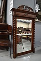 Antique French Mirror, approx 101cm W x 179cm H