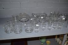Assortment of cut crystal and glass trays,